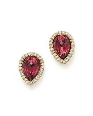 Rhodolite Garnet and Diamond Teardrop Earrings in 14K Yellow Gold - 100% Exclusive