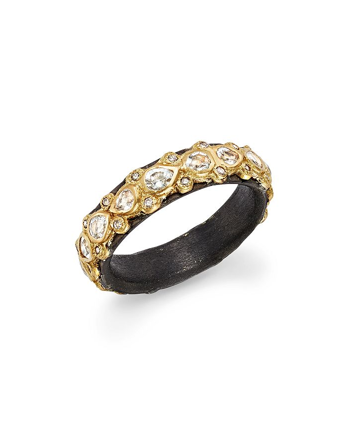 Armenta - 18K Yellow Gold and Blackened Sterling Silver Old World Diamond and White Sapphire Stacking Ring