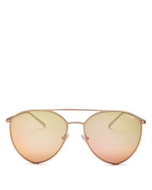 Quay Indio Mirrored Aviator Sunglasses, 60mm