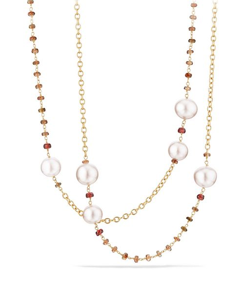 David Yurman - Solari Link Necklace in 18K Gold with Cultured Yellow South Sea Pearl and Andalusite