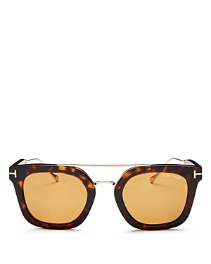 Tom Ford Alex Brow Bar Square Sunglasses, 50mm