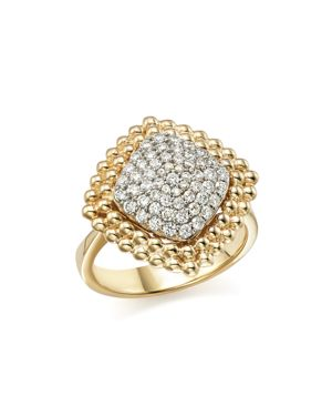 Diamond Pave Square Statement Ring in 14K White and Yellow Gold, .65 ct. t.w. - 100% Exclusive