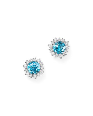 Pink Tourmaline and Diamond Halo Stud Earrings in 14K White Gold - 100% Exclusive