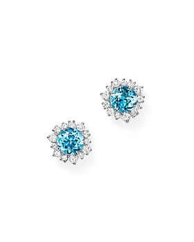 Bloomingdale's - Gemstone & Diamond Halo Stud Earrings in 14K White Gold - 100% Exclusive