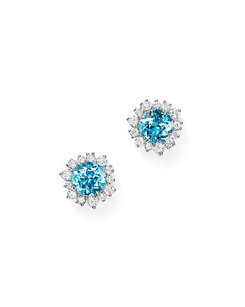 Bloomingdale's - Swiss Blue Topaz and Diamond Halo Stud Earrings in 14K White Gold - 100% Exclusive