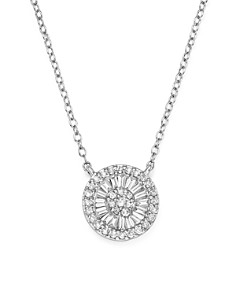 Bloomingdale's - Diamond Round and Baguette Cluster Pendant Necklace in 14K White Gold, .30 ct. t.w. - 100% Exclusive