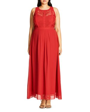 City Chic Paneled Bodice Maxi Dress