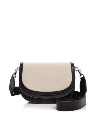 Steven Alan Landon Linen Flap Leather Saddle Bag 2581816