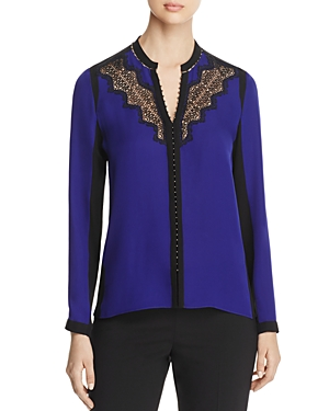 Elie Tahari Denise Lace Trim Color Block Blouse
