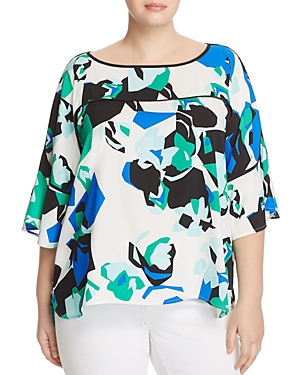 Calvin Klein Plus Abstract Print Flare Sleeve Top
