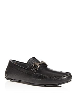 Salvatore Ferragamo Men's Parigi Double Gancini Bit Pebbled Leather Loafers - Regular