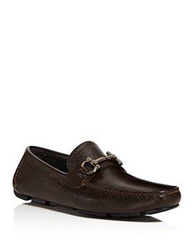 Salvatore Ferragamo - Men's Parigi Double Gancini Bit Pebbled Leather Loafers - Regular