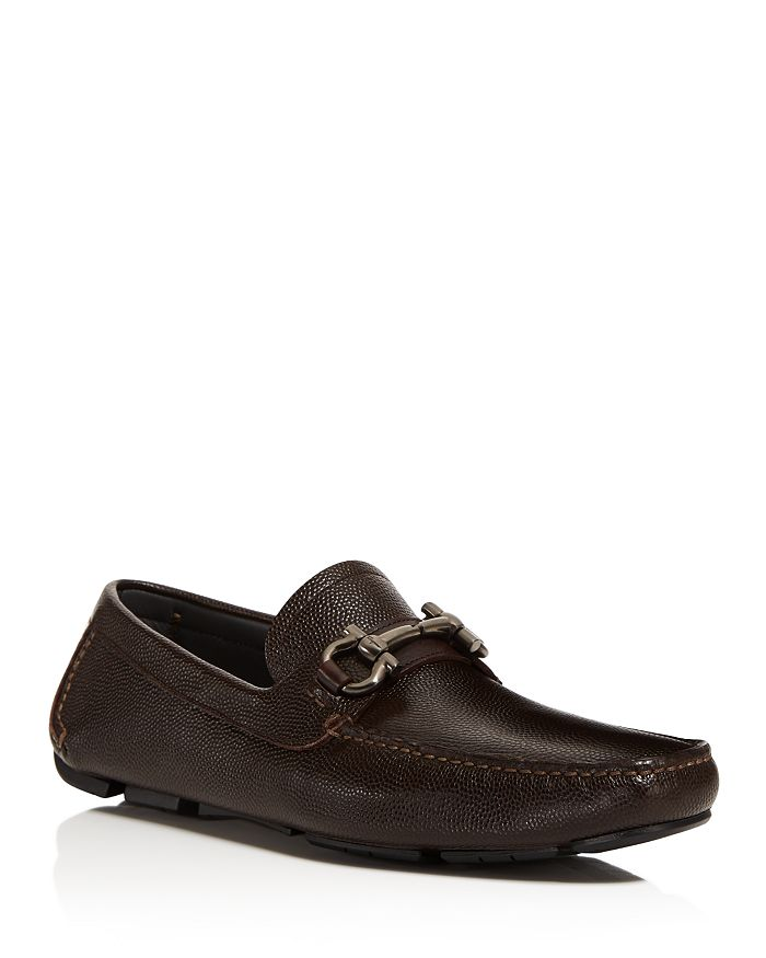 Salvatore Ferragamo - Men's Parigi Double Gancini Bit Pebbled Leather Loafers