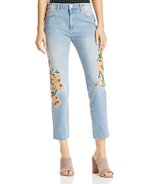 Free People Embroidered Straight-Leg Jeans