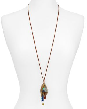 Chan Luu Leather & Textured Pendant Necklace, 34