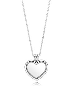 PANDORA Necklace - Sterling Silver, Glass & Cubic Zirconia Floating Heart Locket & More - Bloomingdale's_0