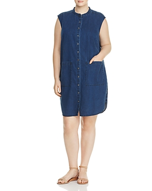 Eileen Fisher Plus Mandarin Collar Denim Dress