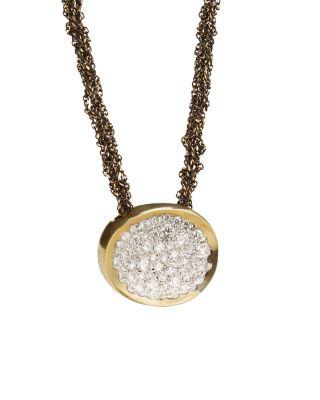 ANTONINI 18K Yellow Gold Matera Silvermist Diamond Pendant Necklace, 16 in White/Gold