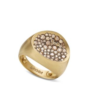 Antonini 18K Yellow Gold Large Matte Matera Pave Cognac Diamond Ring