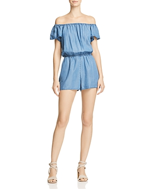 Aqua Chambray Off-the-Shoulder Romper - 100% Exclusive