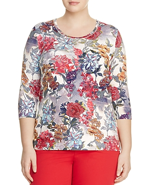 Basler Plus Floral-Print Top