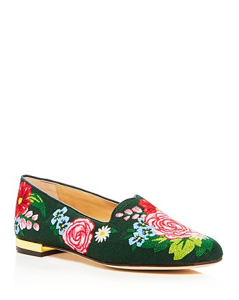 Charlotte Olympia - Women's Rose Garden Embroidered Smoking Slippers