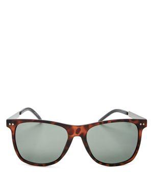 Polaroid Polarized Combination Rectangle Sunglasses, 55mm