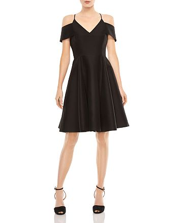 HALSTON HERITAGE - Cold-Shoulder Fit-and-Flare Dress
