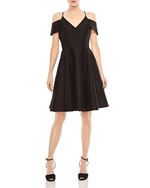 Halston Heritage Cold-Shoulder Fit-and-Flare Dress