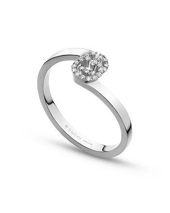 Gucci - 18K White Gold Running G Diamond Ring