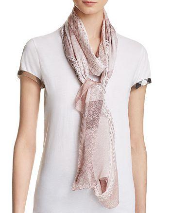 Burberry - Ultra Wash Mega Check Lace Print Silk Scarf