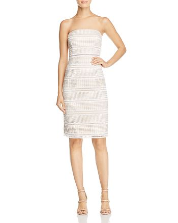 Adrianna Papell - Strapless Lace Midi Dress