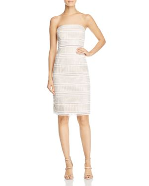 Adrianna Papell Strapless Lace Midi Dress