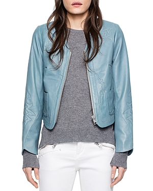 Zadig & Voltaire Vencia Embroidered Leather Jacket