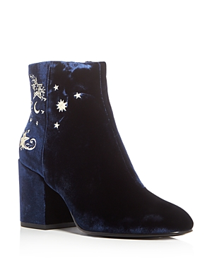 Ash Elixir Velvet Embellished Block Heel Booties