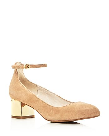 Kenneth Cole - Women's Thalia Ankle Strap Metallic Block Heel Pumps