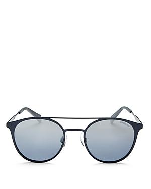 Polaroid Mirrored Polarized Brow Bar Round Sunglasses, 50mm