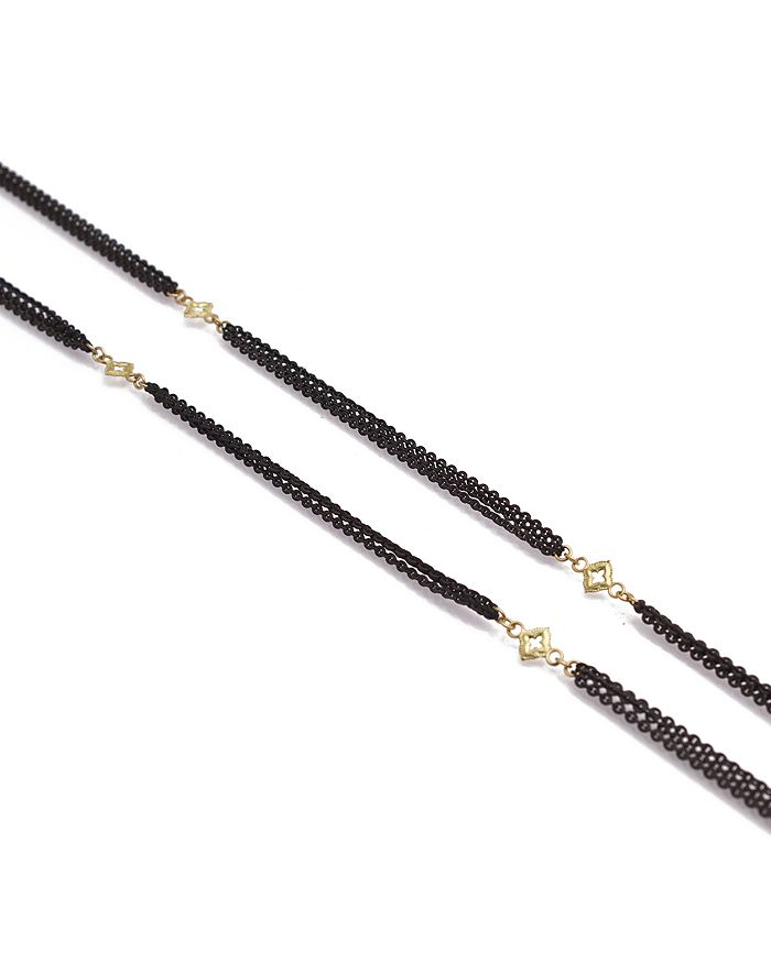 """Armenta - 18K Yellow Gold Blackened Sterling Silver Old World Triple Strand Cravelli Cross Station Necklace, 36"""""""