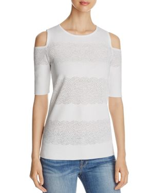 Nic and Zoe Lace Stripe Cold Shoulder Top
