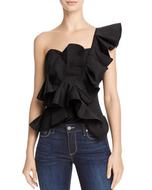 Alpha and Omega One-Shoulder Ruffle Crop Top