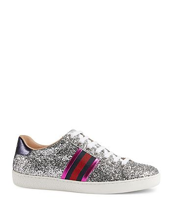 14a4ba30293e Gucci New Ace Glitter Low Top Lace Up Sneakers | Bloomingdale's