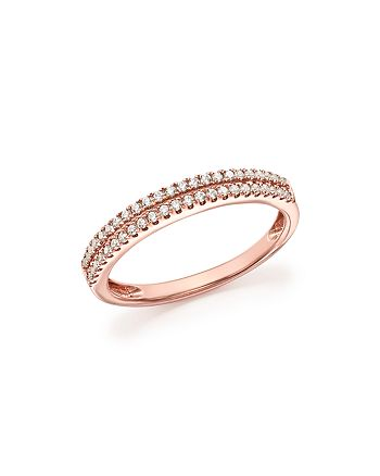 Bloomingdale's - Diamond Double Row Band Ring in 14K Rose Gold, .25 ct. t.w. - 100% Exclusive