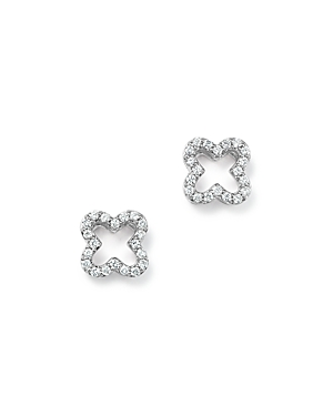 Diamond Clover Stud Earrings in 14K White Gold, .20 ct. t.w- 100% Exclusive