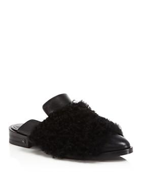 Freda Salvador - Dorinda Fur & Leather Pointed Toe Mules