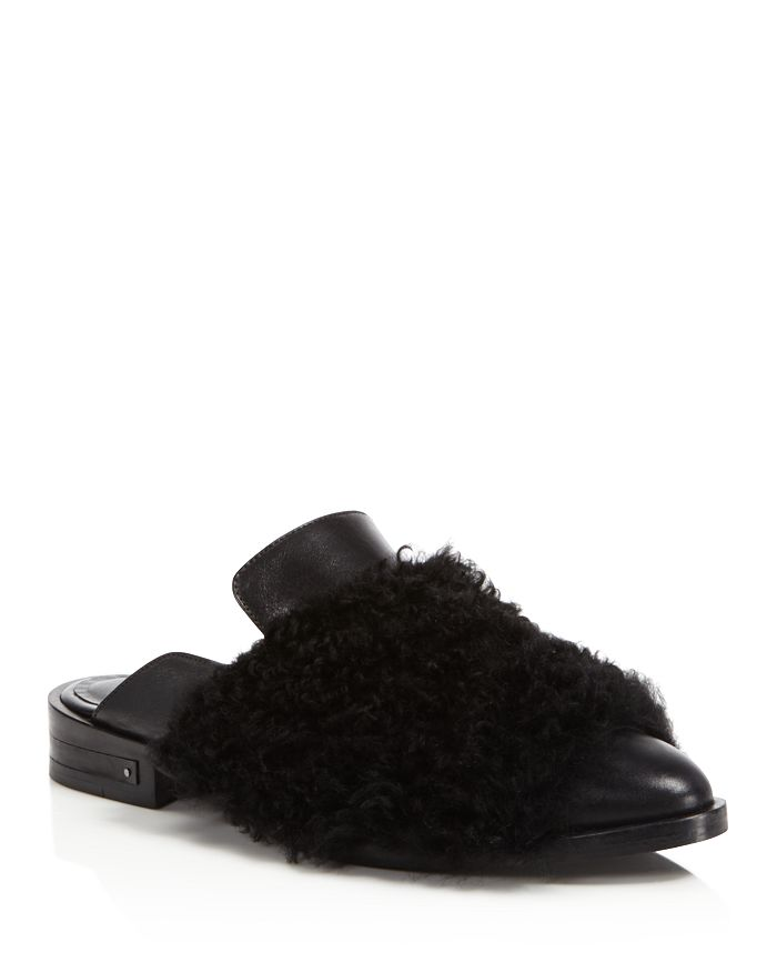 Freda Salvador - Dorinda Fur & Leather Pointed Toe Mules