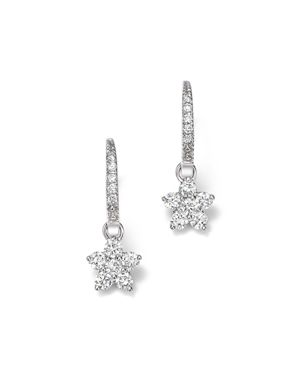 Diamond Flower Small Drop Earrings in 14K White Gold, .60 ct. t.w. - 100% Exclusive
