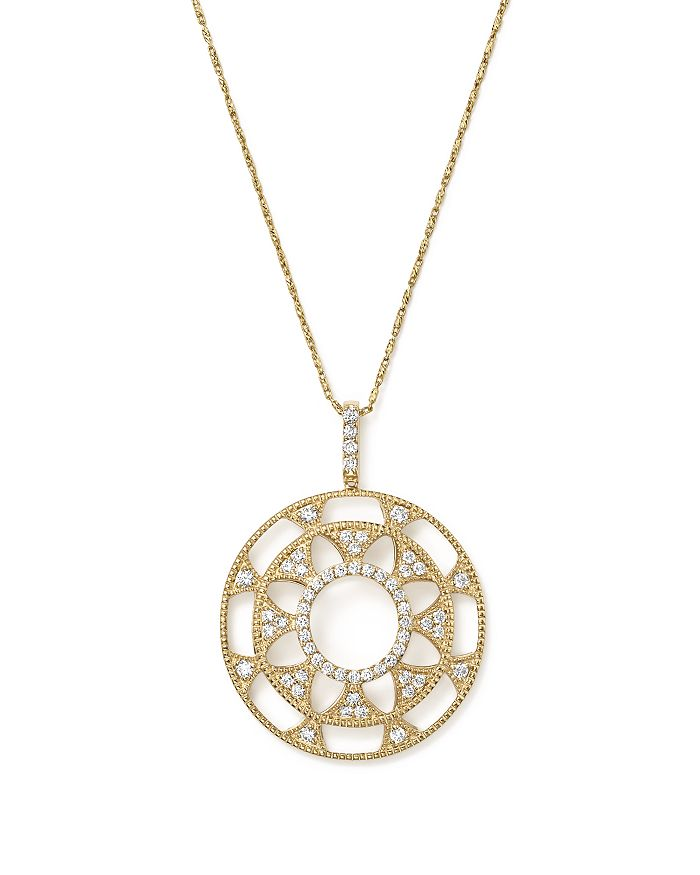 Bloomingdale's - Diamond Deco Circle Pendant Necklace in 14K Yellow Gold, 1.0 ct. t.w. - 100% Exclusive