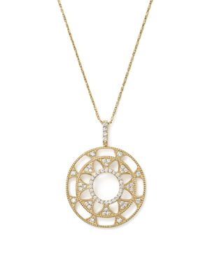 Diamond Deco Circle Pendant Necklace in 14K Yellow Gold, 1.0 ct. t.w. - 100% Exclusive
