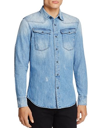G-STAR RAW - Spattered and Faded Denim Regular Fit Snap-Front Shirt