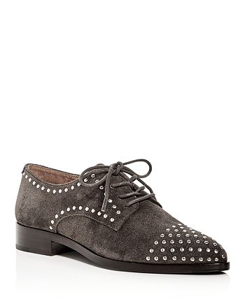 Frye - Women's Erica Stud Embellished Suede Lace Up Oxfords